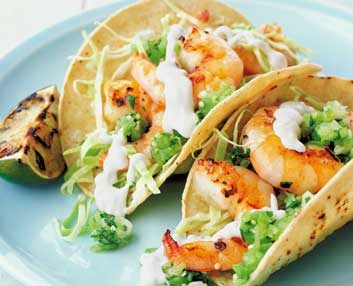 Salsa and Shrimp Tacos