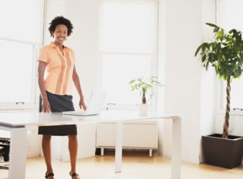 sitting less woman office work desk job