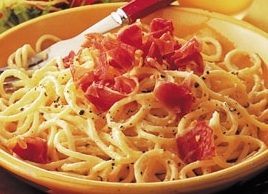 Spaghetti Carbonara with Roasted Tomato Salad