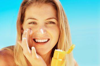 SPF sunscreen woman