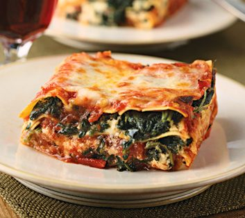 healthy vegetarian spinach lasagna