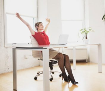 stretching fidgeting woman desk work