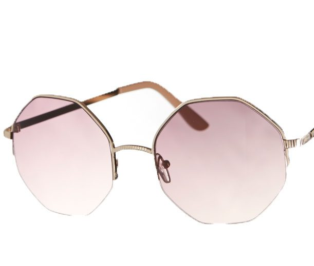 Hexagonal rose-tinted sunglasses
