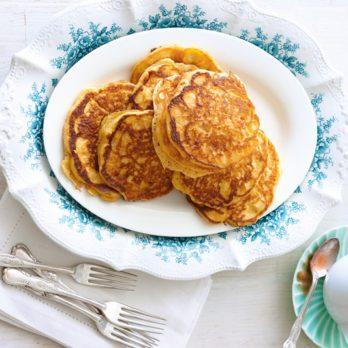 Sweet Potato Pancakes with Rhubarb Maple Syrup
