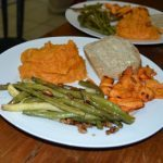 Meatless Monday: Maple Sweet Potato Mash with Rosemary-Walnut Green Beans and Marinated Tofu