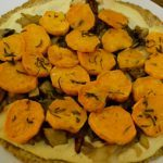 Meatless Monday: Caramelized Onion and Sweet Potato Tortilla Pizza with Pine Nut Cream