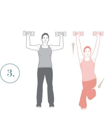 crossover reverse lunges with overhead presses