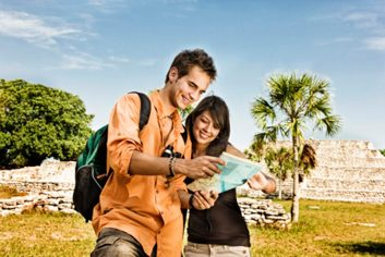 travel couple map travelling