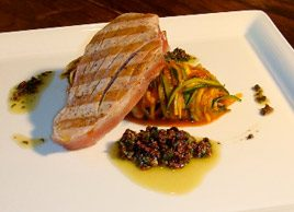 Grilled Tuna with Zucchini Pasta and Artichoke Sauce