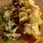 Meatless Monday: Roasted Cauliflower, Zucchini, Potato and Quinoa Tabouleh Wraps with Hummus and Tahini