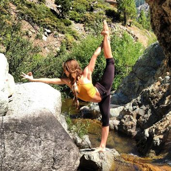 Yoga on a rock