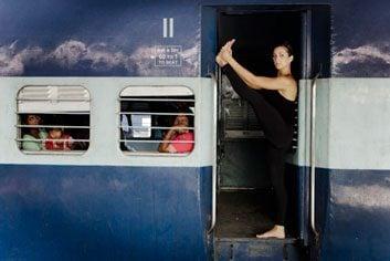 Yoga on a train