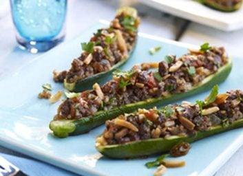 beef almond zucchini boats