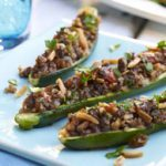 Beef And Almond Stuffed Zucchini Boats
