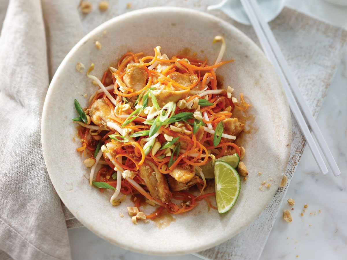 Low carb carrot noodle chicken pad thai best health for Healthy chicken pad thai