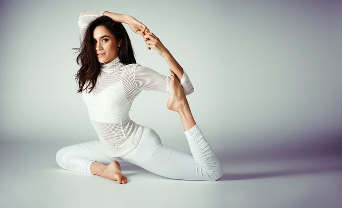Meghan Markle in Best Health yoga pose