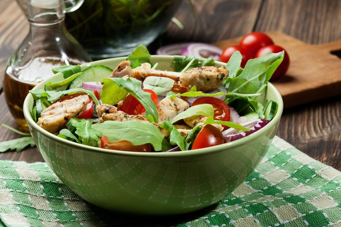 grilled asian salad in bowl