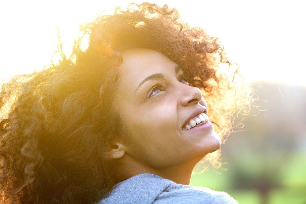 happy woman beat stress