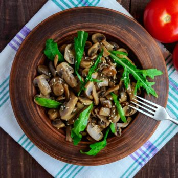 Mushroom Salad with Quail Eggs