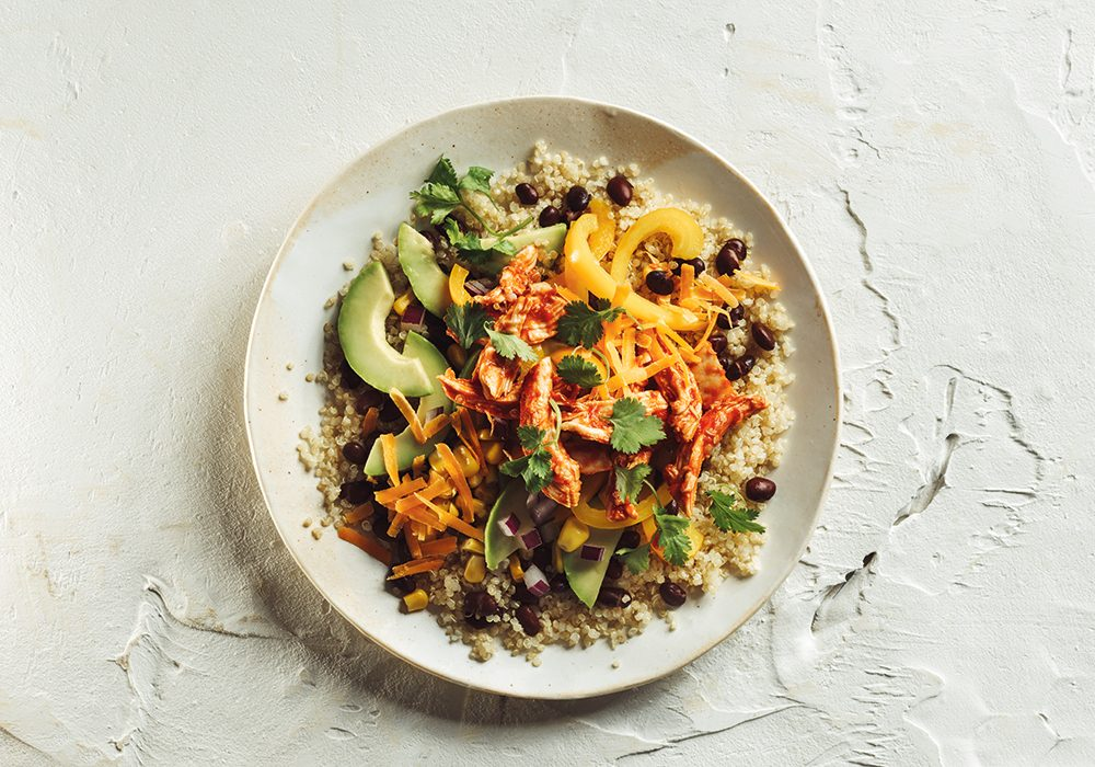 Southwestern Black Bean Quinoa Bowl with Pulled Chicken