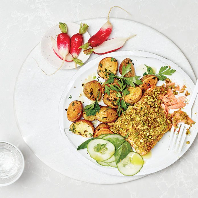 Pistachio-Crusted Salmon With Herbed Mini Potatoes