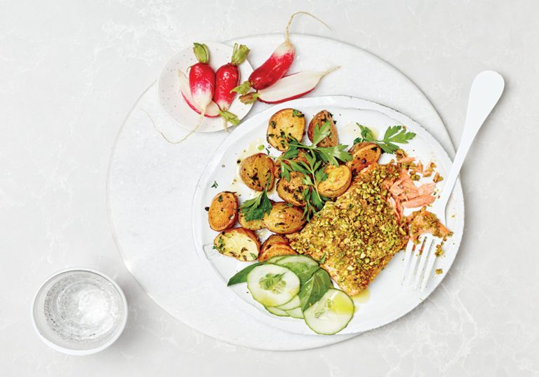 Pistachio crusted salmon recipe with herbed mini potatoes for Pistachio crusted fish