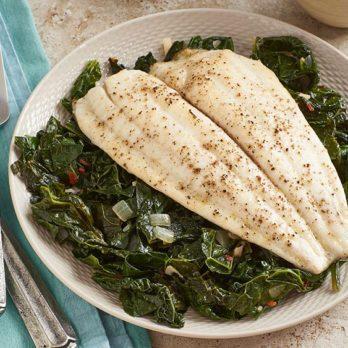 Flounder With Sautéed Kale