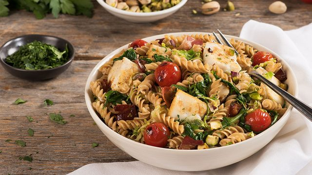 bowl of pasta with chunks of halibut