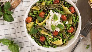 Spaghetti with Yellow Zucchini, Asparagus and Fresh Herbs