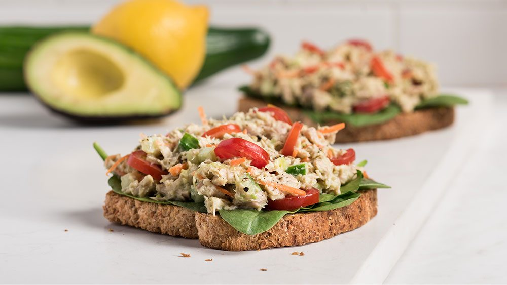 Quick & Clean Open-Faced Avocado Tuna Sandwich