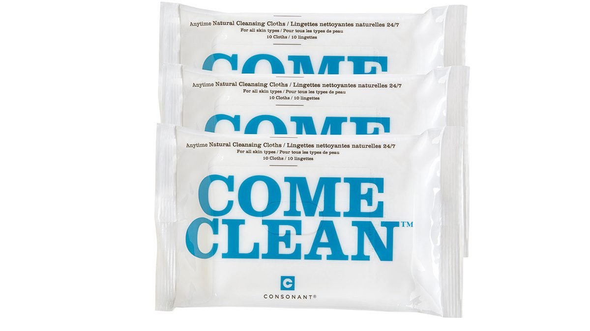 three packages of face wipes