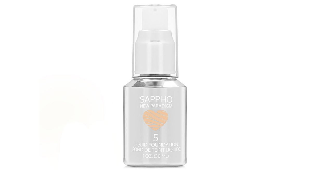 Silver bottle of foundation with a cute heart logo
