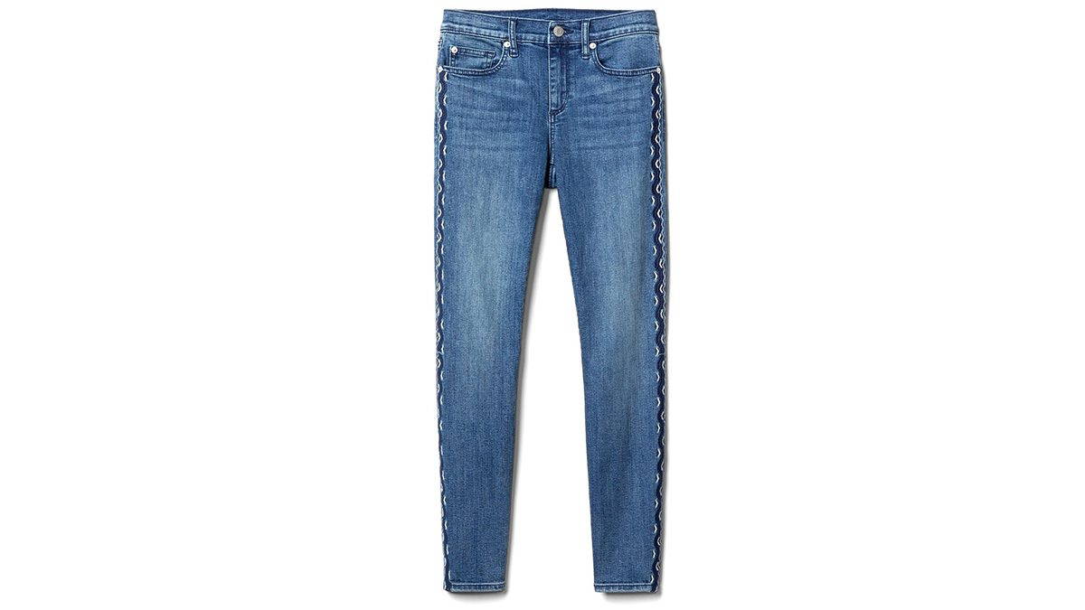 jeans with embroidered side seams