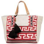 embroidery fashion tote with tassles