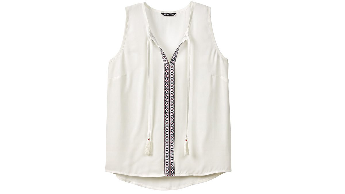 embroidery fashion tunic in white with tassles