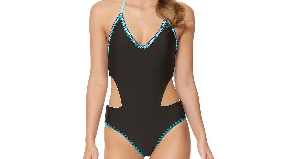 Side cut-out black one-piece