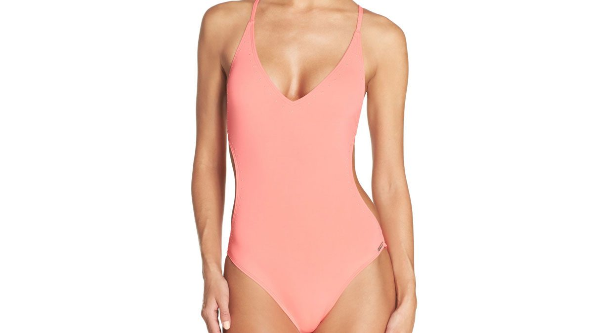 Salmon pink deep-v one-piece