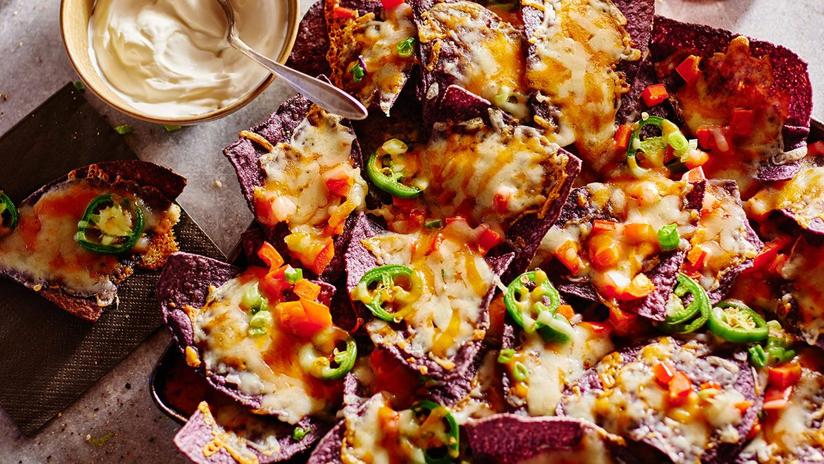 lactose-free nachos loaded with veggies