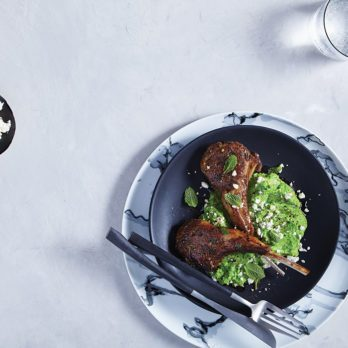 Lemon Mint Lamb Chops with Pea Purée