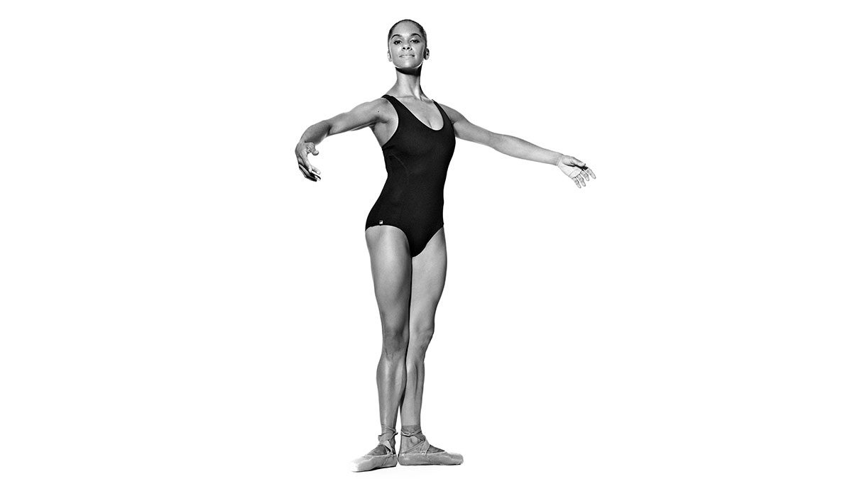 Misty Copeland poses in first postion.