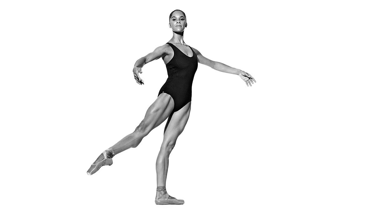 Misty Copeland demonstrates side kicks