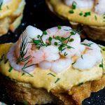 Pan-Seared Shrimp Toast with Tomato, Lime & Kimchi Mayo
