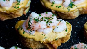 Pan-Seared Shrimp Toast with Tomato, Lime & Kimchi Mayo