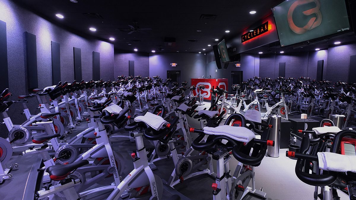 Spinning Mistakes Bike Adjustment: cyclebar studio showing bikes all lined up