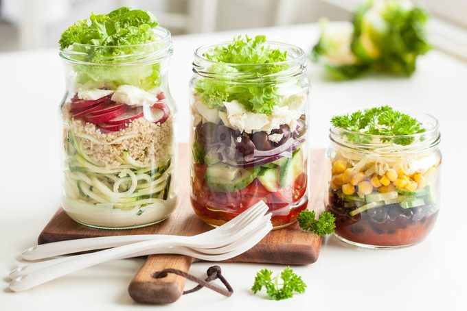 healthy eating rules - salad in a jar