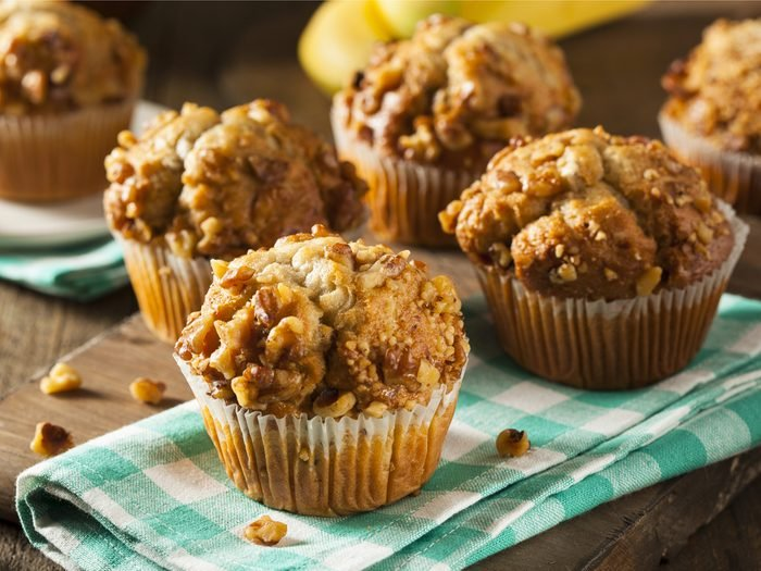 A homemade muffin is a good high-protein breakfast idea.