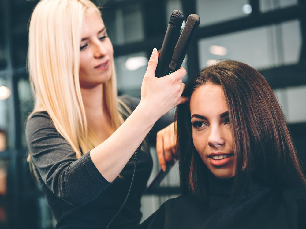 Hair stylist secret: always dry your hair completely before using a curling iron or a flat iron