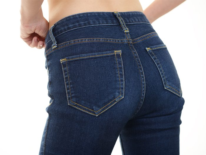 A high rise jean is a sneaky fashion trick to make you look 10 pounds lighter