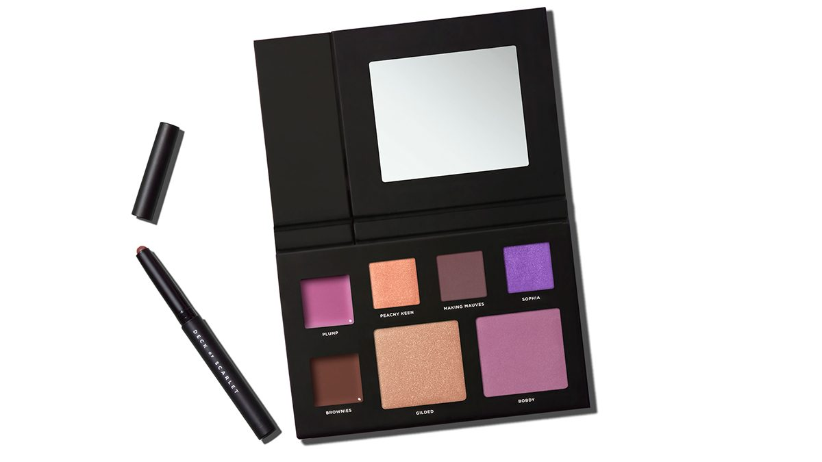 BabsBeauty Palette Deck of Scarlet full-face palette with eyeshadows, lippies, blush and more