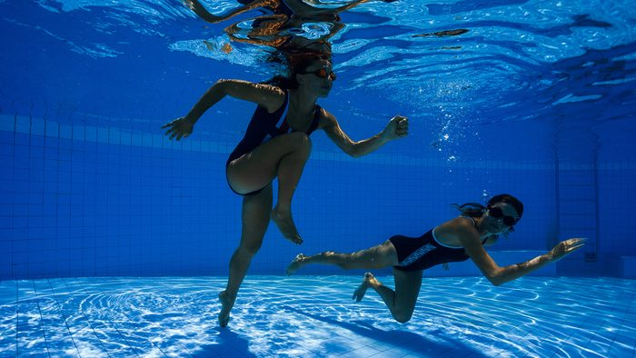 Exercise Prescription for arthritis, two women doing an underwater running workout